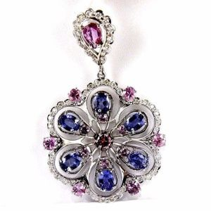 Jewelry - Sapphire, Tanzanite Diamond Pendant 14K WG 11.14Ct